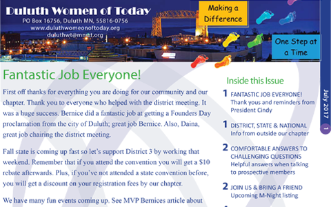 Duluth Women of Today Newsletter